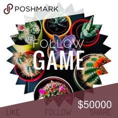 FOLLOW GAME🎉💕🎉 1. LIKE THIS POST 2. SHARE THIS POST 3. FOLLOW EVERYONE WHO LIKES THIS POST!! It's that easy!! Can't wait to meet new poshers 💖✅ Other
