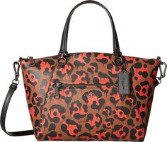 COACH Women's Leopard Ocelot Print Leather Prairie Satchel QB/Orange Wild Beast Satchel