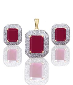 Ruby Shade American Diamond Pendant and Earrings Set