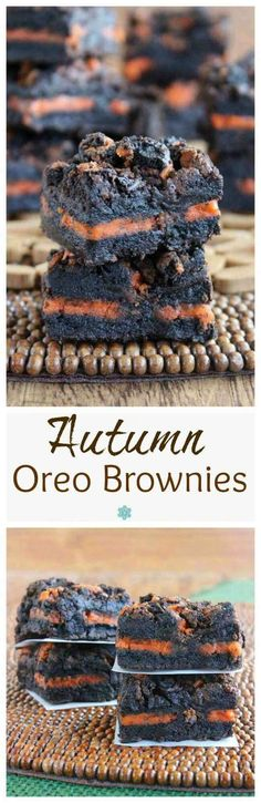 Autumn Oreo Brownies is a wonderful recipe and all you have to do is lay cookies., Oreo Brownies is a wonderful recipe and all you have to do is lay cookies in between two layers of the batter. Fall, Halloween and Thanksgiving. Oreo Brownies, Oreos, Oreo Cake, Oreo Cookies, Fall Cookies, Crinkle Cookies, Mini Desserts, Holiday Desserts, Delicious Desserts