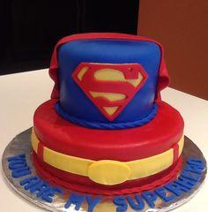 2 tier Superman cake with logo and belt Superman Birthday Party, Avengers Birthday, Batman Party, 1st Birthday Parties, 9th Birthday, Valentines Cakes And Cupcakes, Valentine Cake, Superhero Baby Shower, Superhero Cake