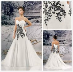 2014 new alibaba white and black wedding dress $216.00