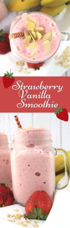 Strawberry Vanilla Smoothie is one of my favorite breakfast smoothies packed with protein and nutrients to get you and your family moving in the morning! (simple breakfast smoothie recipes)