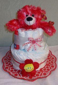 ♥Windeltorte Babygeschenk Geburt Taufgeschenk Rot Teddybär Junge Mädchen ♥