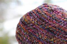 Facets Hat by Rose Beck. malabrigo Rios, Arco Iris color.