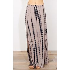 Palm Desert Tie Dye Maxi Skirt (145 NOK) ❤ liked on Polyvore featuring skirts, mocha combo, tie dye maxi skirt, long flare skirt, long brown skirt, long skirts and side slit maxi skirt