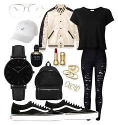 """""""I'm the girl"""" by madisonkiss on Polyvore featuring Calvin Klein, WithChic, RE/DONE, Vans, CLUSE, Yves Saint Laurent, HUF, Alexander McQueen and Kendra Scott"""