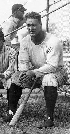 """Lou Gehrig was nicknamed """"The Iron Horse"""". He played his entire professional career for the New York Yankees. He played for 17 seasons. Baseball Star, New York Yankees Baseball, Ny Yankees, Sports Baseball, Baseball Shirts, Baseball Cards, Baseball Anime, Baseball Tickets, Orioles Baseball"""