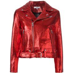 Iro metallic biker jacket ($1,423) ❤ liked on Polyvore featuring outerwear, jackets, coats, coats & jackets, red, iro jacket, red moto jacket, metallic moto jacket, rider jacket and biker jackets