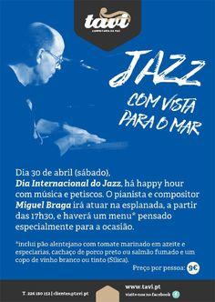 """Evento """"Jazz com vista para o mar"""", dia 30 de abril às 17h30. Mais informações em: https://www.facebook.com/events/1328410727173221/"""