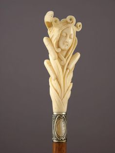 Fabulous carved ivory cane or walking stick. Walking Sticks And Canes, Wooden Walking Sticks, Walking Canes, Cane Handles, Wooden Canes, Cane Stick, Art Nouveau Design, Art Nouveau Jewelry, Bone Carving
