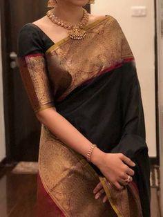 Stylish Black Color Latest Silk Saree With Blouse Piece - Wedding Saree Blouse Designs, Half Saree Designs, Silk Saree Blouse Designs, Wedding Sarees, Bridal Sarees, Latest Silk Sarees, Indian Silk Sarees, Trendy Sarees, Stylish Sarees