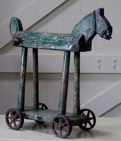 antiqu toy, wooden horses, 19th century, primitive folk art, vintage toys, blues, antiques, thing, pallet wood