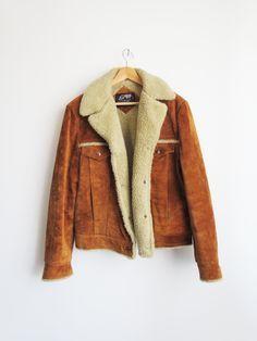 Shearling Suede Coat // Vintage Suede Jacket