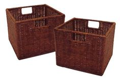 Winsome Wood Leo Storage Baskets, Set of Finish: This set of two wicker baskets is ideal for use with the Espresso Wide and Narrow Storage Shelves.Made from durable wicker, they are practical as well as elegant. Wicker Baskets With Handles, Rattan Basket, Wire Baskets, Wood Basket, Fabric Storage Baskets, Fabric Bins, Storage Bins, Storage Solutions, Wire Storage