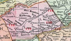 Wythe County, Virginia, Map, 1911, Rand McNally, Wytheville, Ivanhoe, Max Meadows, Rural Retreat, Crockett, Grahams Forge, Barren Springs, Ivanhoe, Fosters Fall, Crockett, Favonia, Walton Furnace, Buddle, Cripple Creek, Speedwell, Hubble