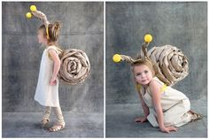 DIY a super cute snail costume for your kiddo this Halloween. Homemade Halloween Costumes, Halloween Costumes For Girls, Halloween Kids, Children Costumes, Halloween Halloween, Vintage Halloween, Halloween Makeup, Funny Kid Costumes, Up Costumes