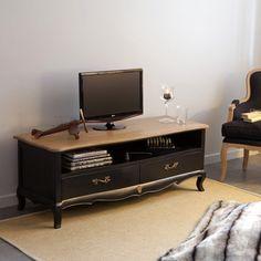 Meuble TV bas en bois avec niche et tiroir L140cm avec plateau en bois massif PAULINE Mathilde et Pauline port offert