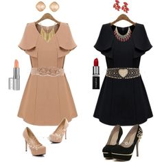 """""""Apricot or Black out fits?"""" by pacconylois on Polyvore"""