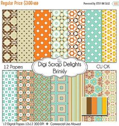 50% OFF TODAY Digital Scrapbooking: Brinkly Scrapbook Paper, Instant Download, Turquoise, Orange, Brown  #Scrapbooking #Autumn #Fall #Scrapbookingkits #DigiScrapDelights #Thanksgiving