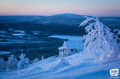 A perfect place to enjoy a perfect sunset. Levi ski centre, Lapland, Finland 7.12.2013.