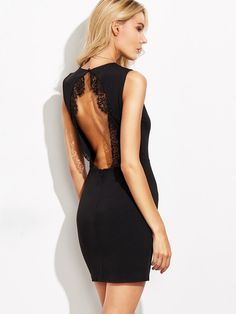 Shop Black Lace Trim Open Back Sheath Dress online. SheIn offers Black Lace Trim Open Back Sheath Dress & more to fit your fashionable needs. Backless Mini Dress, Lace Dress, Summer Dresses 2017, Valentines Day Dresses, New Years Eve Dresses, Bodycon Dress Parties, Party Dresses, Nye Dresses, Sleeveless Dresses