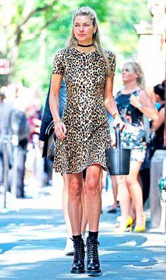 look vestido animal print