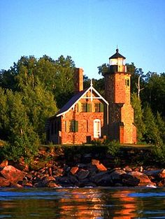 Raspberry Island Lighthouse in Apostle Islands National Lakeshore, Wisconsin