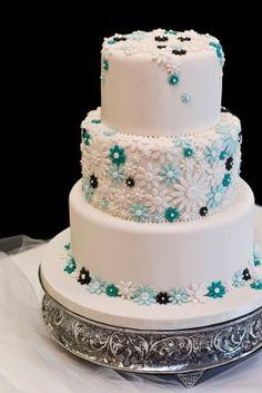 Blue flowers wedding-cakes