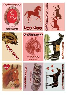 Pretty Horse Valentines to Print and Use for Collage, Free for You