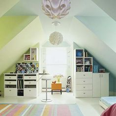 Turn your attic space into a playroom or bedroom with some fresh paint and tiered shelving!