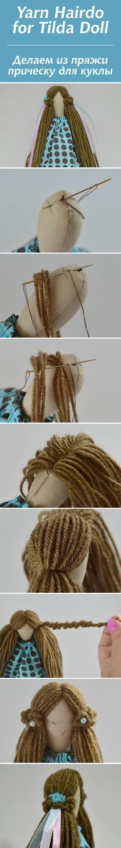 Making hairstyle for the tilde from yarn - Fair Masters - handmade, handmade