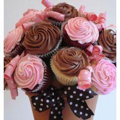 Cupcake flowers in a flower pot