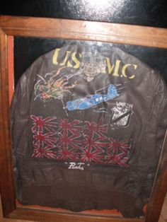 A Corsair pilot's jacket from the Pacific theatre. Vintage Leather, Leather Men, Leather Flight Jacket, Tech Background, Back Painting, Military Clothing, Military Uniforms, Fighter Pilot, Nose Art