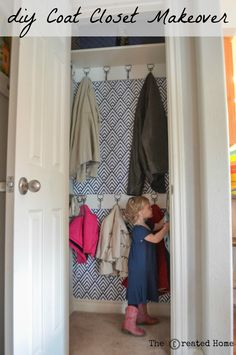 Small hall closet makeover Coat closet makeover~ The Created Home Small Coat Closet, Small Closets, Shoe Closet, Girl Closet, Coat Cupboard, Closet Under Stairs, Coat Closet Organization, Organize Coat Closet, Organization Ideas