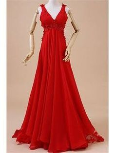 Fashion A-Line Floor Length Court Train V-Neck Evening Dress for Female Red Size:US 2