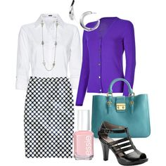 Great outfit - I have a purse this color, now need the nice purple cardi