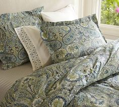 Master Bedroom - Bella Paisley Bedding Ensemble - Blue $199.99