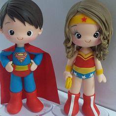 #superherois #mulhermaravilha #superhomem #festaherois #topodeboloherois