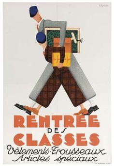 Rentrée des classes - vêtements - trousseaux - articles spéciaux - années 1930 - illustration de L. Alyanaki -