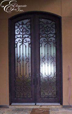 Custom wrought iron front door. Iron Front Door, Steel Security Doors, Double Doors, Wrought Iron, Furniture, Google, Home Decor, Decoration Home, Room Decor
