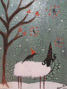 Primitive Folk Art Painting Sheep Crow Halloween Witch Hat. $15.00, via Etsy.