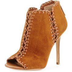 Michael Kors Collection Henley Whipstitch Peep-Toe Bootie (7.740 ARS) ❤ liked on Polyvore featuring shoes, boots, ankle booties, ankle boots, dark luggage, leather peep toe booties, high heel booties, high heel boots and short boots