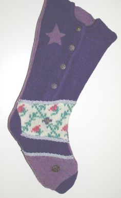 Heirloom Felted Christmas Stocking in Purple by NancysAccessories on Etsy