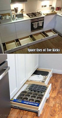 not let the space of toe kicks go wasted, it can be used to build drawers for baking supplies storage.Do not let the space of toe kicks go wasted, it can be used to build drawers for baking supplies storage. Diy Kitchen Storage, Diy Kitchen Cabinets, Kitchen Cabinet Design, Kitchen Redo, Kitchen Tips, Kitchen Pegboard, Kitchen Counters, Teal Kitchen, Soapstone Kitchen