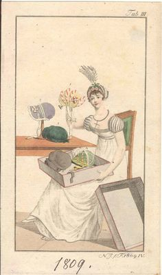 A Lady admiring her Hats - Fashion Plate - 1809 [This is just all kinds of awesome.]
