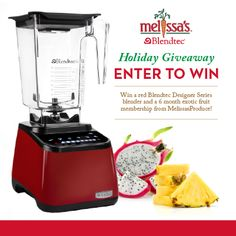 Enter to Win a #BlenderParty with a @Blendtec blender and a @Melissa Sweazy Produce 6 month fruit subscription by re-pinning this photo! Check our facebook , twitter and instagram pages for additional entries!