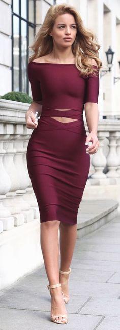9134005e57b Burgundy Two Piece - My Bandage Dress  roressclothes closet ideas  women  fashion outfit