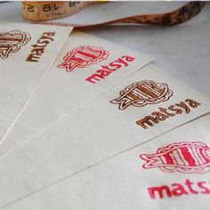 its so much fun to stamp your own logos on hand made paper