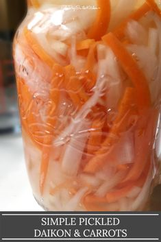 Pickled daikon and carrots are light, sour, sweet, and crisp, making this dish the perfect flavor companion to heavier dishes like fried chicken or roast pork belly! It's a breeze to make, needing only 5 ingredients, and is a refreshing pick-me-up for the palate! #pickleddaikon #daikon #pickledvegetables #pickledcarrots #asianrecipes Pickled Daikon Recipe, Pickled Carrots, Vegetable Prep, Asian Recipes, Japanese Recipes, Different Vegetables, Rice Vinegar, Pork Roast, Pork Belly